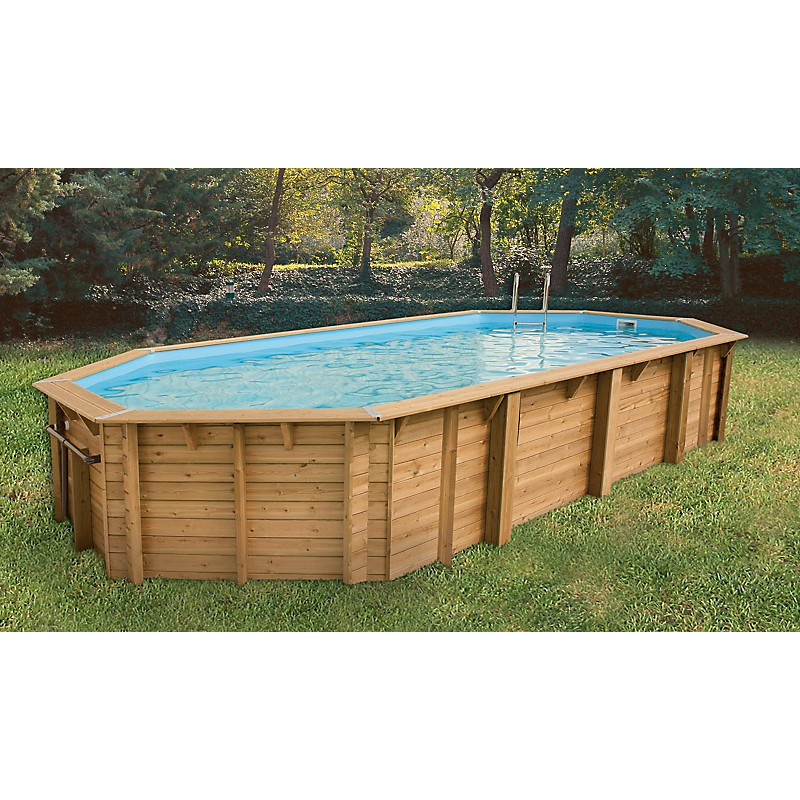 Piscine bois Super Tonga octogonale allongée 820 x 470 x 130 cm