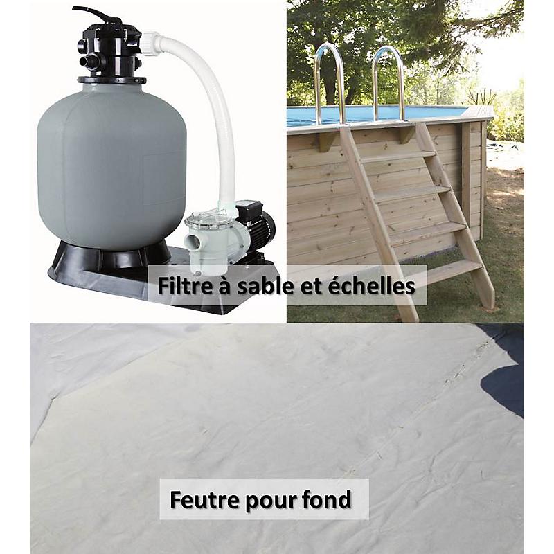 Piscine bois rectangulaire 555 x 300 cm maison et for Chauffage piscine leclerc