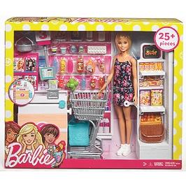 Barbie - Coffret Supermarc-En-Cielhé Et Poupée - Poupée Mannequin  - 3 Ans Et +  - Barbie - FRP01