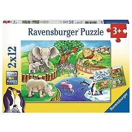 Puzzles 2X12 P - Les Animaux Du Zoo - 4005556076024