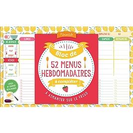 Bloc de 52 menus hebdomadaires à compléter : à aimanter sur le frigo