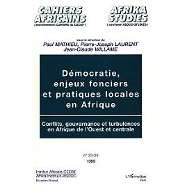 Démocratie, enjeux fonciers et pratiques locales en Afrique : conflits, gouvernance et turbulences en Afrique de l'Ouest et centrale : actes du séminaire de Louvain-la-Neuve, 2-12 mai 1995
