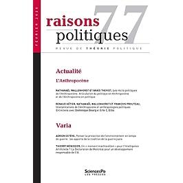 Raisons politiques, n° 77 - L'anthropocène - François Prouteau -  9782724636383 - Espace Culturel E.Leclerc