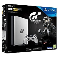 PS4 SLIM 1To E Silver Edition Limitée + Gran Turismo Sport Std+ + Qui es-tu ? (voucher) (PS4)