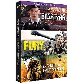 Coffret guerre 3 films : un jour dans la vie de Billy Lynn ; fury ; la chute du Faucon Noir, Dvd