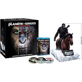 Coffret trilogie la planète des singes : les origines ; l'affrontement ; suprématie + figurine, Edition collector limitée, Blu-ray