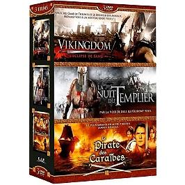 Coffret aventure 3 films : Vinkingdom ; la nuit du templier ; pirate des Caraïbes, Dvd