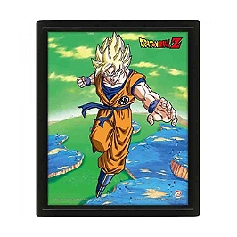 Dragon ball z cadre 3d lenticulaire transformation super saiyan