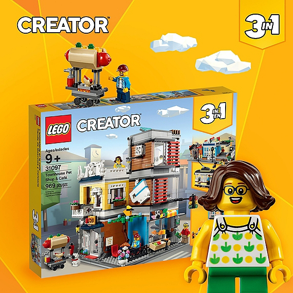 Batiment modulaire Lego 3 en 1 Creator 31097 L/'animalerie et le café