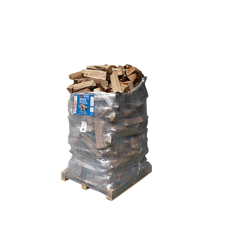 1 pack : 2400 DM³ de bûches de 40 cm + 8 sacs bois d'allumage - WOODSTOCK