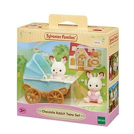 Les Jumeaux Lapin Chocolat Et Poussette Double  - Sylvanian Families - 5432
