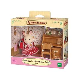 La fille lapin chocolat et bureau      - SYLVANIAN FAMILIES - 5016