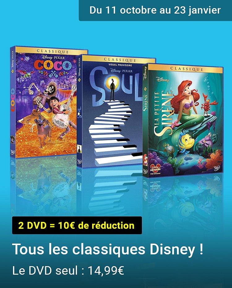 Promotion : 2 DVD Disney classiques = 10€ de réduction
