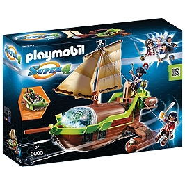 PLAYMOBIL - Bateau pirate Caméléon avec Ruby - Super 4 - 9000
